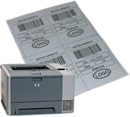 "4 labels on 8.5"" x 11"" paper printed on a HP LaserJet 2420 b/w laser printer"
